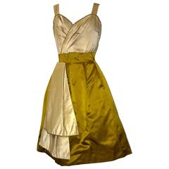 Jean Marchand for Friedlander 1950s Ivory Cream Yellow Gold Silk Cocktail Dress