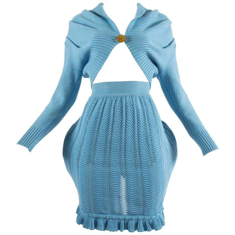 Vivienne Westwood Spring-Summer 1995 knitted skirt and cardigan ensemble
