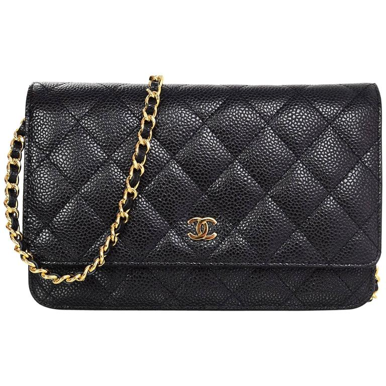 Chanel Black Caviar Leather Wallet On Chain Woc Crossbody Bag With Box For