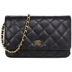 Chanel Black Caviar Leather Wallet On Chain WOC Crossbody Bag with Box