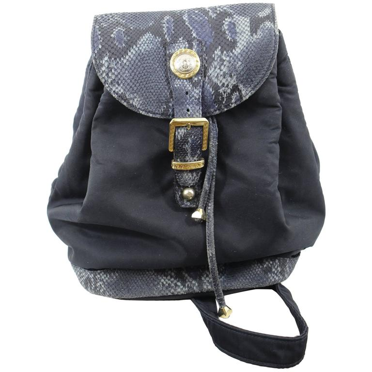 Vintage Nylon Gianni versace One Strap Backpack with Faked Python
