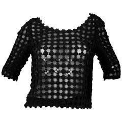 Oscar De La Renta Black Floral Crochet 3/4 Sleeve Top sz US4