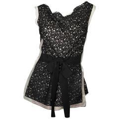 Oscar De La Renta Black Lace & Beige Silk Sleeveless Top sz US6