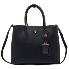 Prada Saffiano Cuir Leather Double Bag Tote Black