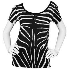 Saint Laurent Black & White Zebra Print T-Shirt sz S