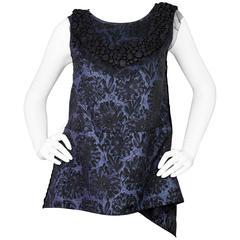 Vera Wang Black & Blue Floral Sleeveless Blouse sz US6