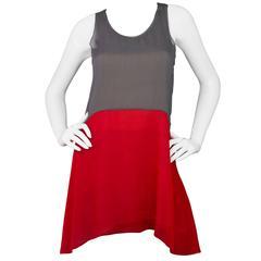 Vera Wang Grey & Red Color Block Sleeveless Tunic Top sz US4