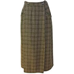 1980s Calvin Klein Brown Plaid Wool Wrap Skirt