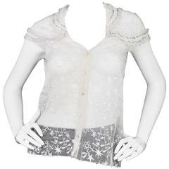 Nina Ricci White Embroidered Silk Cap Sleeve Top sz US4
