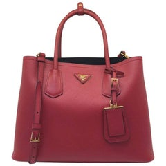 Prada Saffiano Cuir Leather Double Bag Tote Red