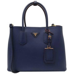 Prada Saffiano Cuir Leather Double Bag Tote Blue