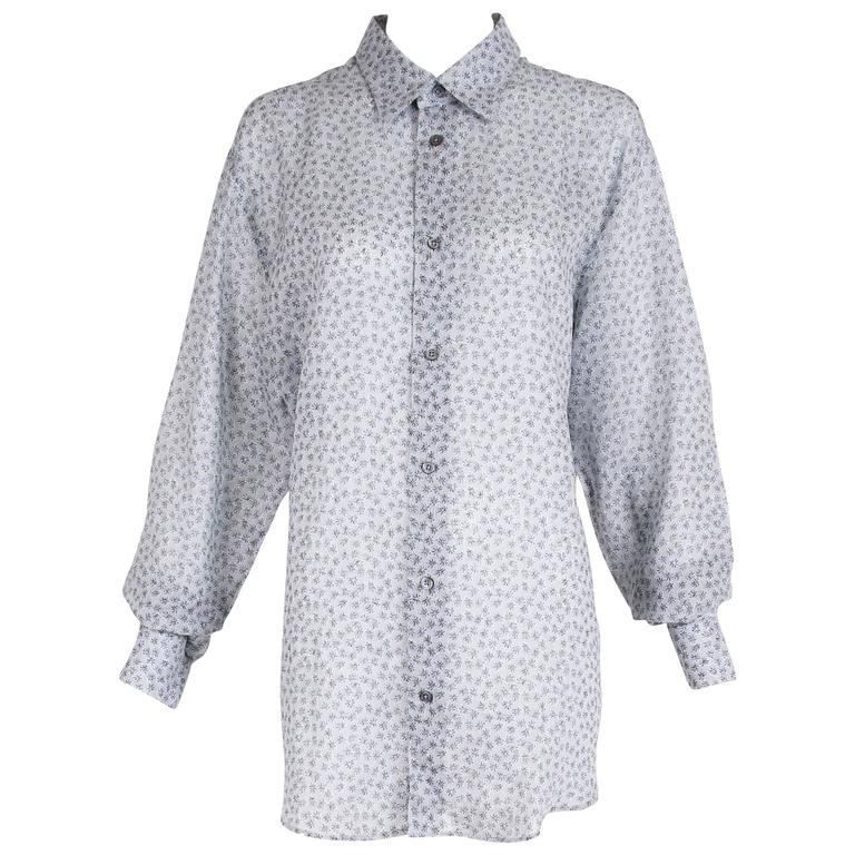 Hermes Men's Pale Blue Linen Button Down Long Sleeve Floral Print Shirt