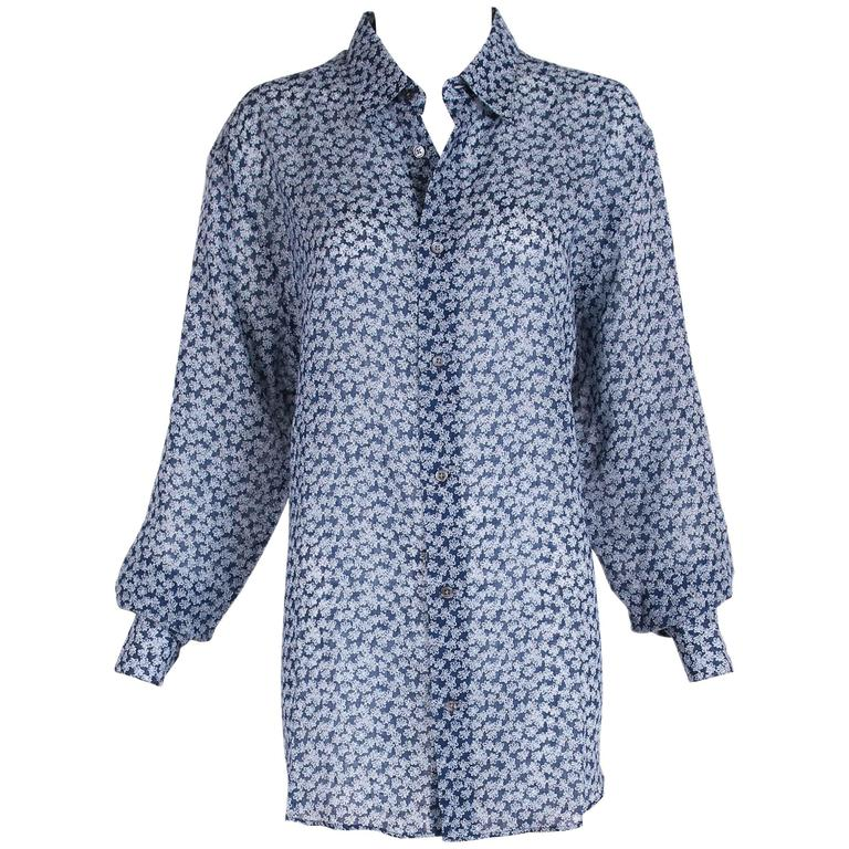 Hermes Men's Blue Linen Collared Button Down Long Sleeve Floral Print Shirt For Sale