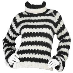 Chloe Cream & Navy Wool Turtleneck Knit Sweater sz S rt. $415