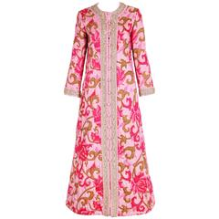 1970's Malcom Star rPink Printed Quilted House Coat W/Beading & Gold Trim