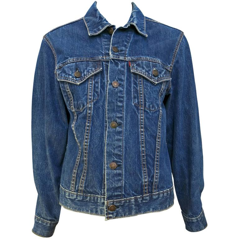 1960s Rare Indigo Big E Levis Palm Embroidered Jacket For Sale at ...