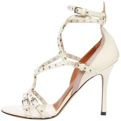 Valentino New Off White Nude Leather Patent Strappy Sandals Heels in Box