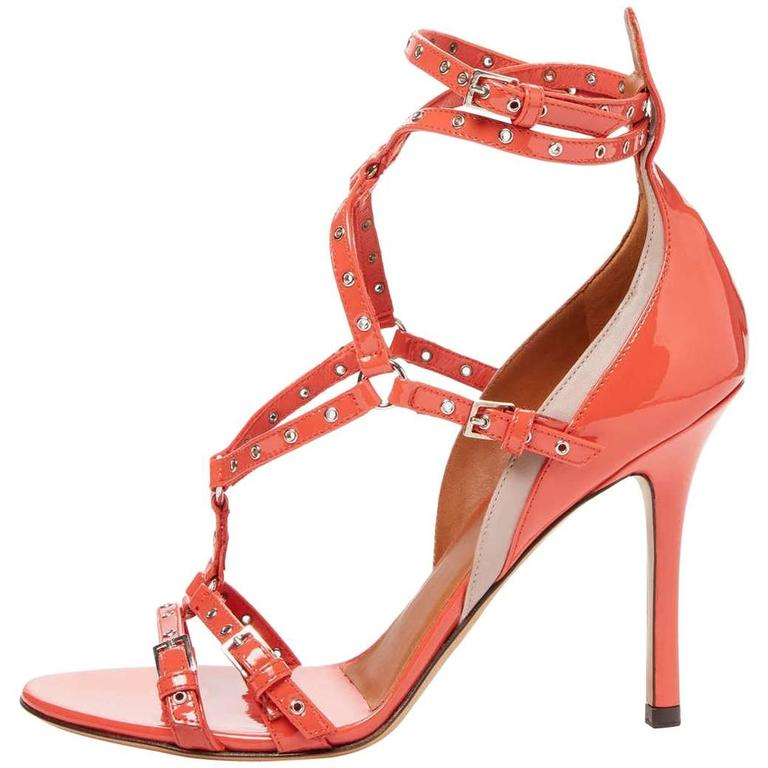 Valentino New Coral Patent Leather Strappy Cut Out Sandals Heels in Box For Sale
