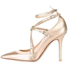 Valentino New Gold Bronze Leather Strappy Cut Out Heels Sandals in Box