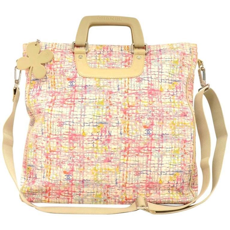 Chanel Multicolor Canvas XLarge 2way Shoulder Tote Clover Bag