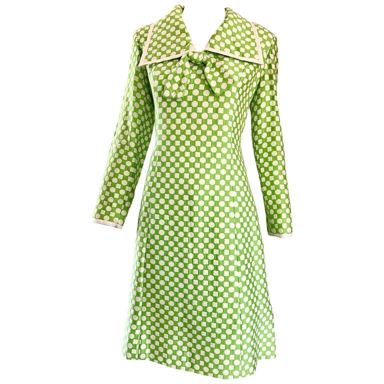 GEOFFREY BEENE 1960s Green White Polka Dot & Square Print Knit A Line 60s Dress