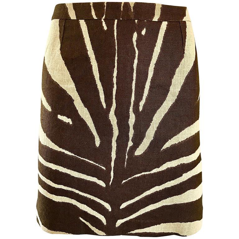 e8bca5895117 NWT Michael Kors Collection Size 4 Brown + Ivory Zebra Print Linen Mini  Skirt For Sale