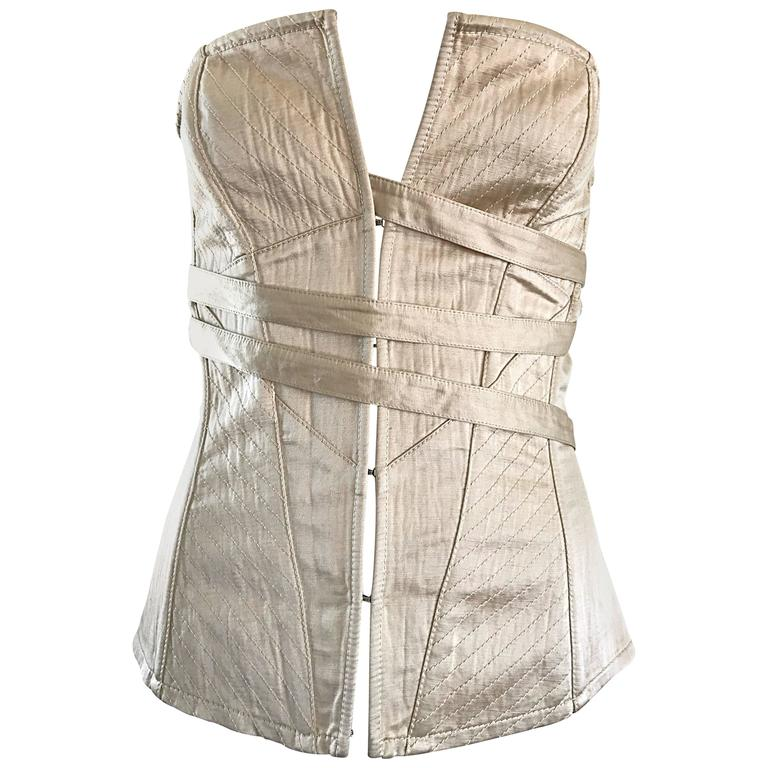 NWT La Perla 1990s Champagne Silk Vintage 90s Quilted Bustier Corset Top For Sale