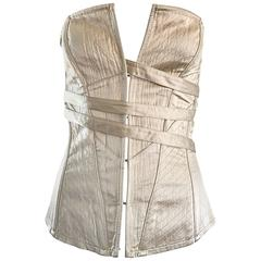 NWT La Perla 1990s Champagne Silk Vintage 90s Quilted Bustier Corset Top