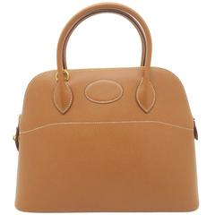 Hermes Bolide 31 Gold Brown Courchevel Leather Gold Metal Top Handle Bag