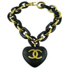 Chanel Vintage Rare Iconic Massive Wooden Heart Necklace
