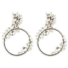 Statement Clear Swarovski Crystal Feather Wing Hoop Earrings