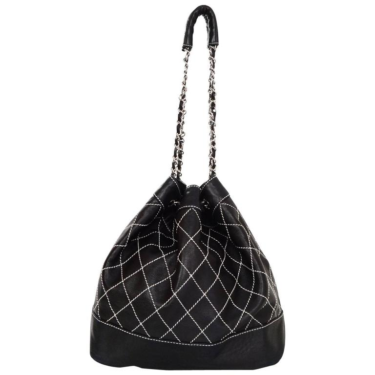 Chanel Black Leather Contrast Quilted Surpique Bucket Bag 1