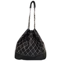 Chanel Black Leather Contrast Quilted Surpique Bucket Bag