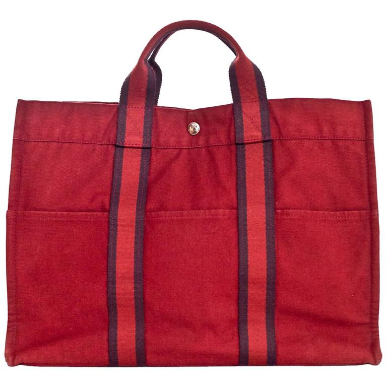 Hermes Brick Red Canvas Fourre-Tout GM Tote Bag
