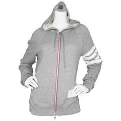 Thom Browne Men's Grey Block Stripe Cotton Zip Up Hoodie sz 3/L rt. $725