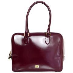 Moschino Burgundy Glazed Leather Handle Bag