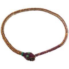 Rare 1920 Antique WW1 Turkish Prisoner of war Beaded Snake Necklace