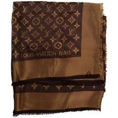 Louis Vuitton Brown Lurex Monogram Shine Shawl with Box rt. $675