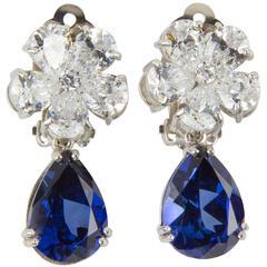 Amazing Faux Diamond Sapphire Drop Clip Earrings