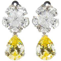 Amazing Faux Diamond and Yellow Diamond Drop Clip Earrings