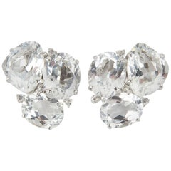 White Topaz and Diamond Stud Statement Earrings