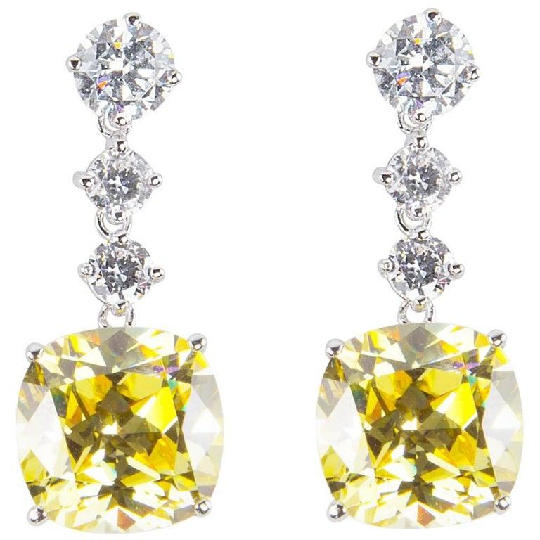 Amazing Faux Yellow Diamond Drop Statement Earrings For
