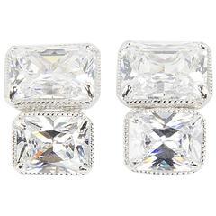 Fabulous Faux White Rectangular Brilliant Cut Diamond Sterling Silver Earrings