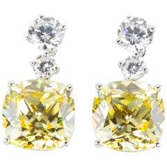 Amazing Faux Yellow Diamond Drop Statement Earrings