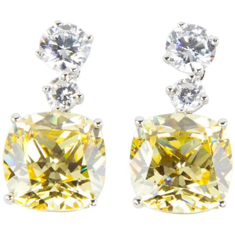 Amazing Faux Yellow Diamond Drop Statement Earrings