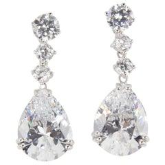Stunning Faux Diamond and Teardrop Faux Diamond Drop Statement Earrings