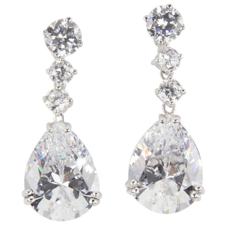 Stunning Faux Diamond And Teardrop Drop Statement Earrings For