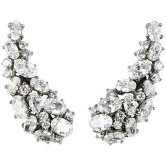 Stunning Faux White Brilliant Cut Diamond Demi Lune Sterling Silver Earrings