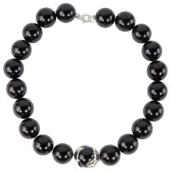 20mm Black Onyx Bead Sterling Silver Statement Necklace