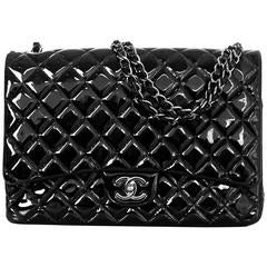 Chanel Black Quilted Patent Leather Double Flap Classic Maxi Bag